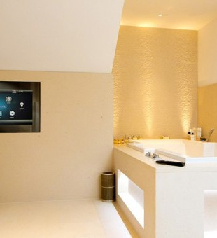 "32"" mirror TV – the waterproof screen makes it perfect for catching up with the news before whilst getting ready."