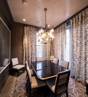 The Dining Room includes Crestron in-ceiling speakers and Crestron Keypad.