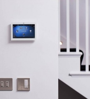 Control 4 touch panel and Lutron lighting keypad make controlling your home easy.