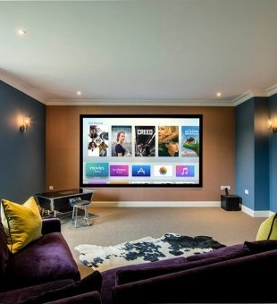 Multipurpose media room fitted with a JVC DLA-X5000R 4K Projector.