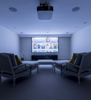 In the media room, an Apple TV has been connected to the system to enable users access to a vast film and TV library.
