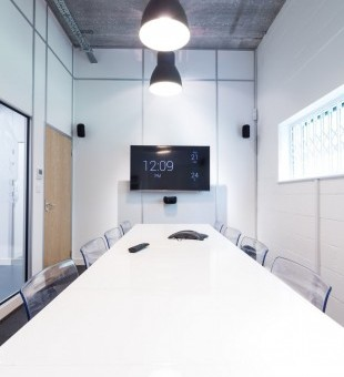 The meeting room acts as the ideal demo space for clients as it features a 5.1 surround sound system and smart TV.  They are also able to test the ease of the Control4 system with the Control4 remote.